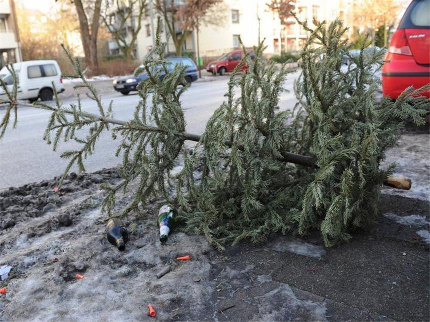 Feuerwehr sammelt weihnachtsbaume