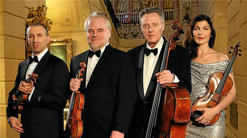 "Mark Ivanir, Philip Seymour Hoffmann, Christopher Walken, Keaver in ""Saiten des Lebens"""