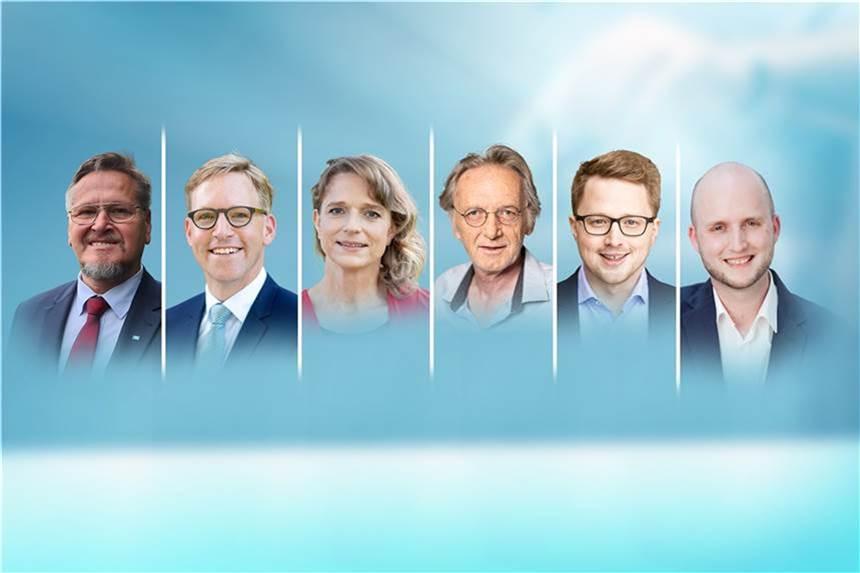 Dr. Leonhard Martin (AfD), Marc Henrichmann (CDU), Dr. Anne-Monika Spallek (Grüne), Klaus Stegemann (Die Linke), Johannes Waldmann (SPD) und René Arning (FDP) treten als Direktkandidaten an.