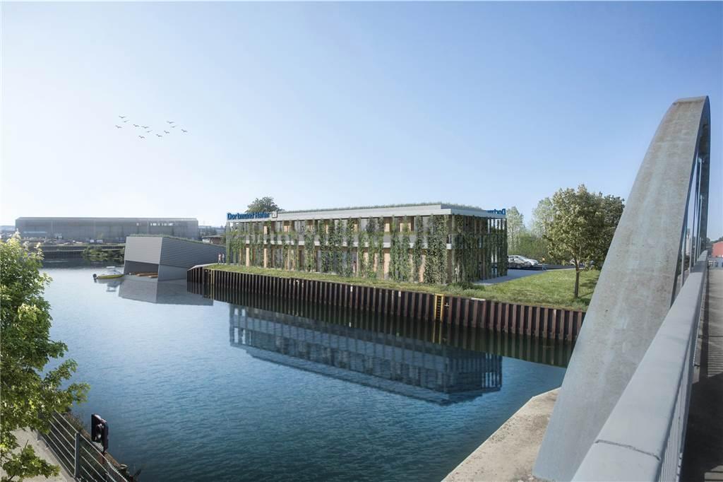 Eine begrünte Fassade prägt den Entwurf für das neue Verwaltungsgebäude der Hafen AG aus dem Büro Gerber Architekten.